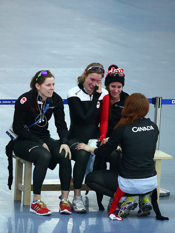 . Members of Canada react after competing during the Women\'s Team Pursuit Final C Speed Skating event on day fifteen of the Sochi 2014 Winter Olympics at  at Adler Arena Skating Center on February 22, 2014 in Sochi, Russia.  (Photo by Clive Mason/Getty Images)