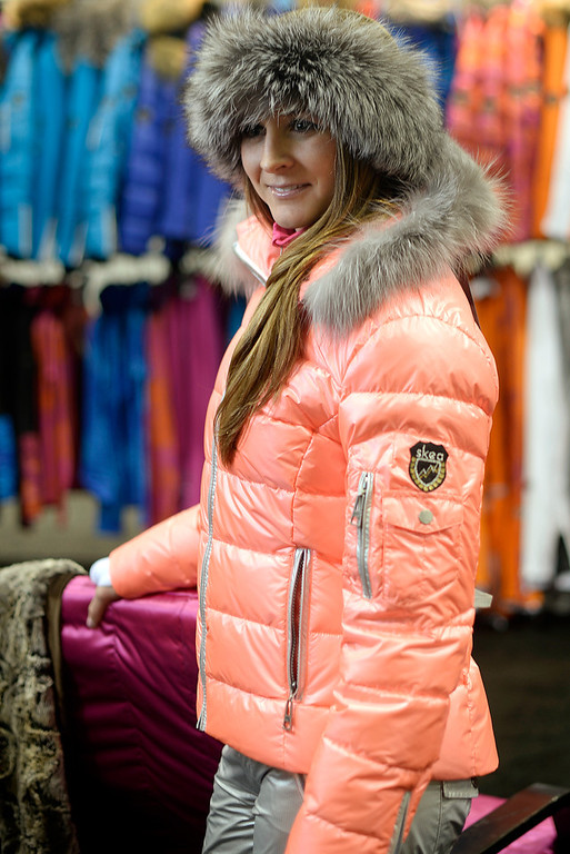 . A model in a jacket from  Skea during a visit to the Snowsports Industries America  Snow Show at the Colorado Convention Center in Denver on Thursday, January 30, 2014. (Denver Post Photo by Cyrus McCrimmon)
