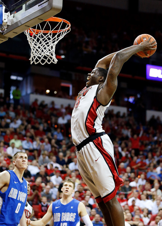 . UNLV\'s Anthony Bennett dunks against Air Force during the second half of a Mountain West Conference tournament NCAA college basketball game, Wednesday, March 13, 2013, in Las Vegas. UNLV won 72-56. (AP Photo/Isaac Brekken)