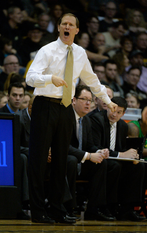 . Oregon Ducks yea coach Dana Altman yells out to his team during eh second half against the Colorado Buffaloes January 5, 2014 at Coors Events Center. Colorado Buffaloes defeated the Oregon Ducks 100-91. (Photo by John Leyba/The Denver Post)