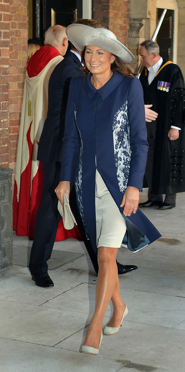 . Grandmother of Prince George, Carole Middleton leaves the Chapel Royal in St James\'s Palace, after the christening of the three month-old Prince George of Cambridge by the Archbishop of Canterbury on October 23, 2013 in London, England. (Photo by John Stillwell - WPA Pool /Getty Images)