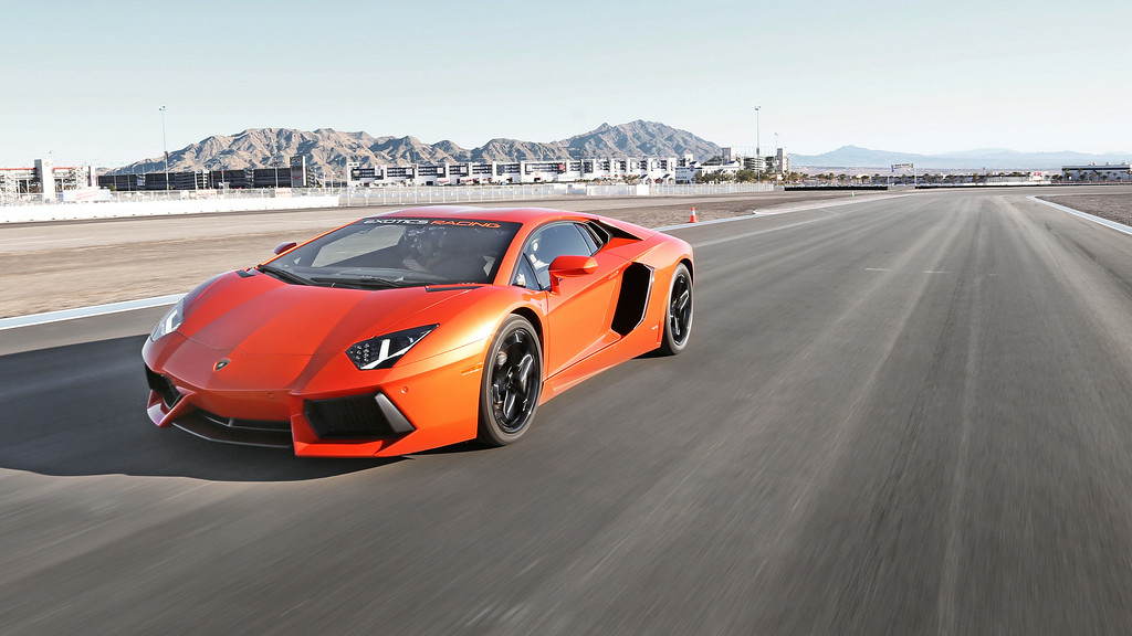 . The Lamborghini Aventador LP700-4 is one of the many cars available to drive around the Las Vegas Motor Speedway with Exotics Racing. Provided by Exotics Racing