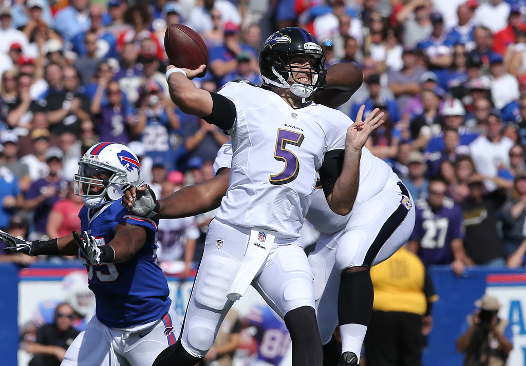 . ORCHARD PARK, NY - SEPTEMBER 29: Joe Flacco #5 of the Baltimore Ravens throws an interception in the first quarter during NFL game action against the Buffalo Bills at Ralph Wilson Stadium on September 29, 2013 in Orchard Park, New York. (Photo by Tom Szczerbowski/Getty Images)
