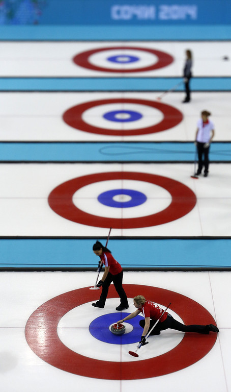 . Switzerland\'s Alina Paetz (bottom) throws a stone during the women\'s curling round robin session 5 match between Switzerland and Sweden at the Ice Cube curling centre in Sochi on February 13, 2014 during the 2014 Sochi winter Olympics. ADRIAN DENNIS/AFP/Getty Images