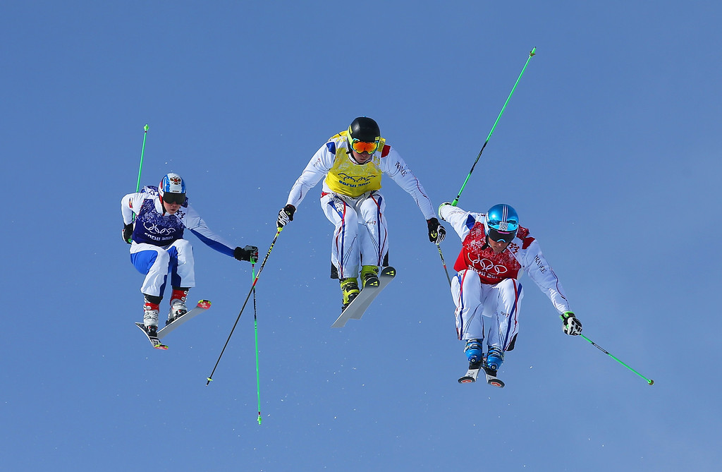 . (R-L) JF Chapuis, Jonathan Midol of France and Egor Korotkov of Russia make a jump in the semi final during the Mens Ski Cross Freestyle Skiing at Rosa Khutor Extreme Park on February 20, 2014 in Sochi, Russia.  (Photo by Julian Finney/Getty Images)