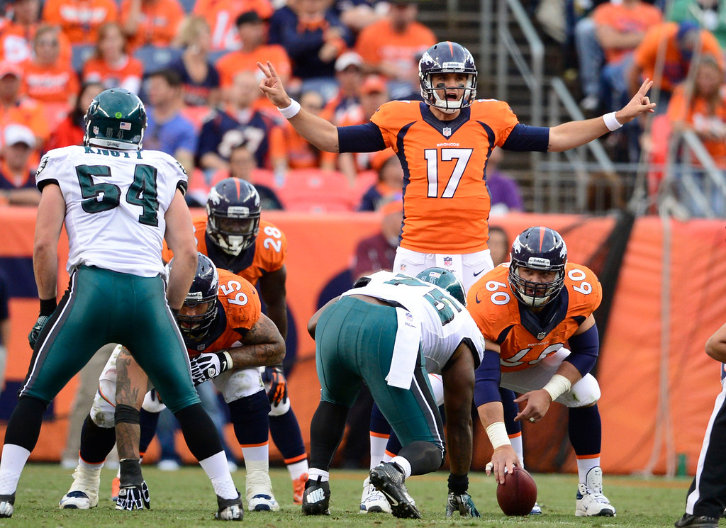 . Denver Broncos quarterback Brock Osweiler (17) gets in the game in the fourth quarter against the Philadelphia Eagles September 29, 2013 at Sports Authority Field at Mile High. (Photo by AAron Ontiveroz/The Denver Post)