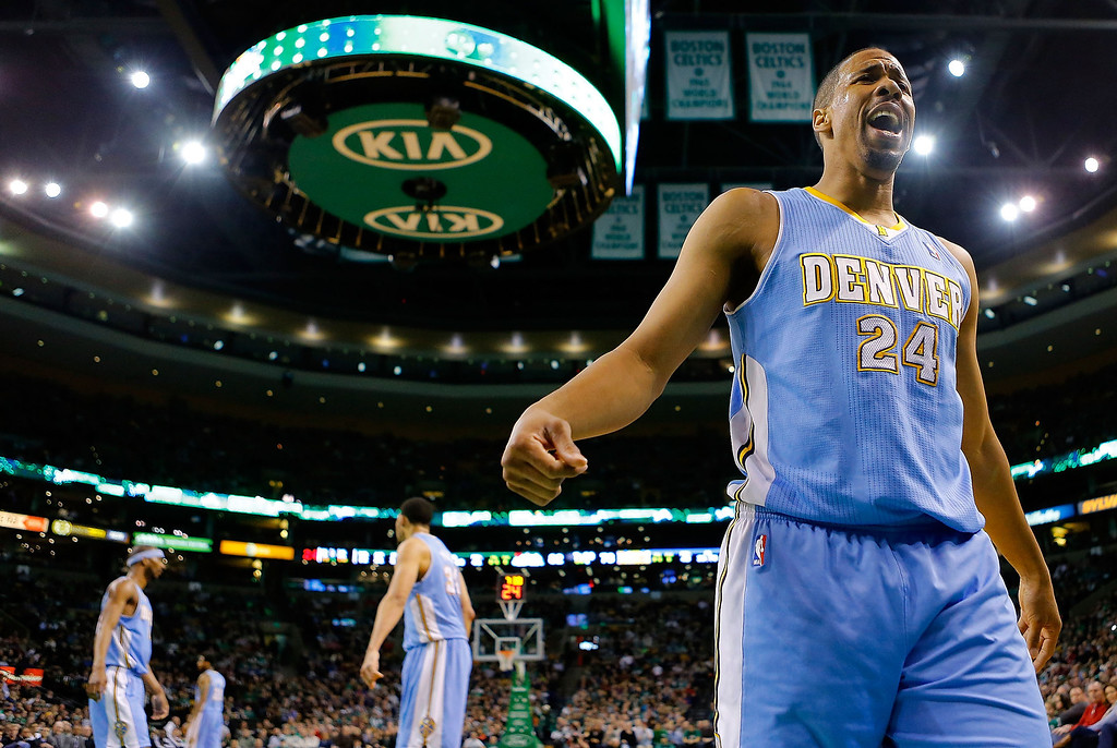 . BOSTON, MA - FEBRUARY 10: Andre Miller #24 of the Denver Nuggets reacts to a non-call against the Boston Celtics during the game on February 10, 2013 at TD Garden in Boston, Massachusetts.  (Photo by Jared Wickerham/Getty Images)