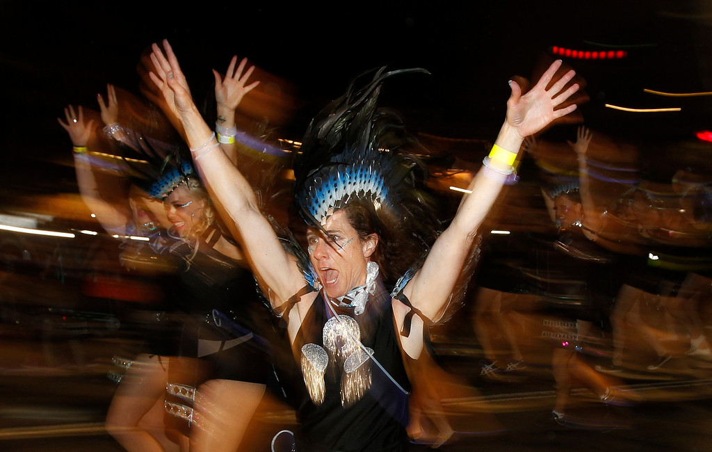 """. A member of the group \""""ANZ - Many Faces: One Tribe\"""" participates in the 35th annual Sydney Gay and Lesbian Mardi Gras parade March 2, 2013. REUTERS/Daniel Munoz"""