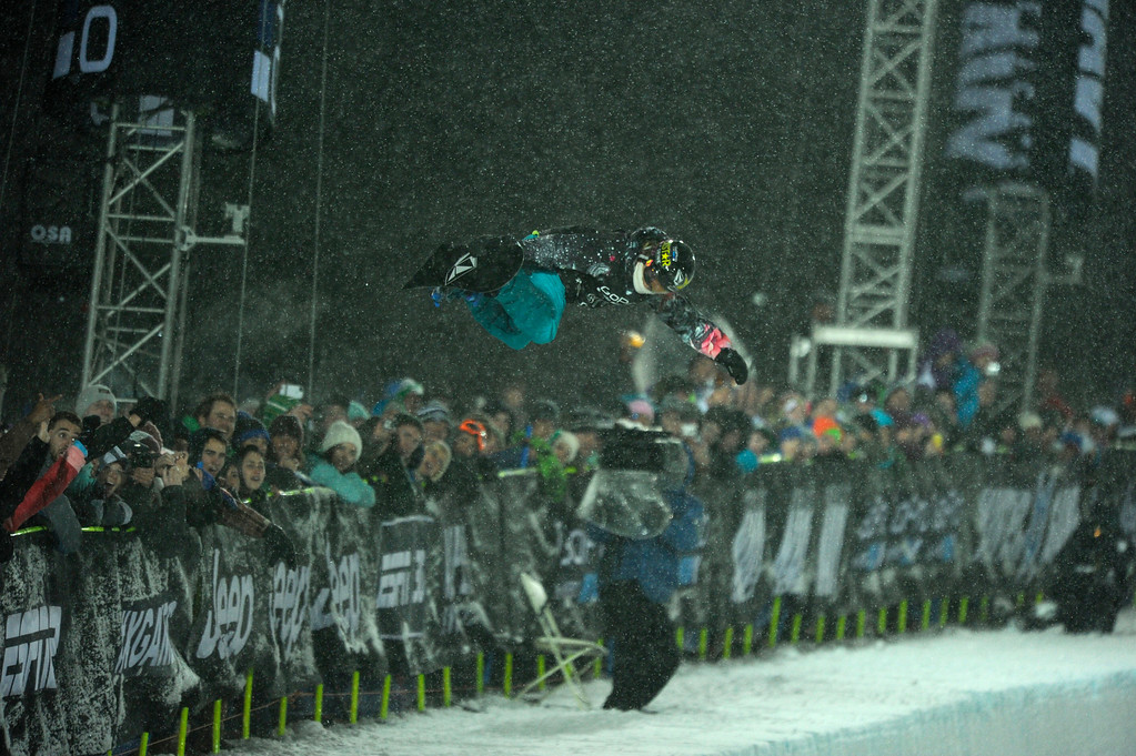 . ASPEN, CO. - JANUARY 26:  Elena Hight during the Snowboard Super Pipe Women�s Final, January 26, 2013. The  2013 Winter X Games at Buttermilk Mountain in Aspen. (Photo By Daniel Petty/ The Denver Post)