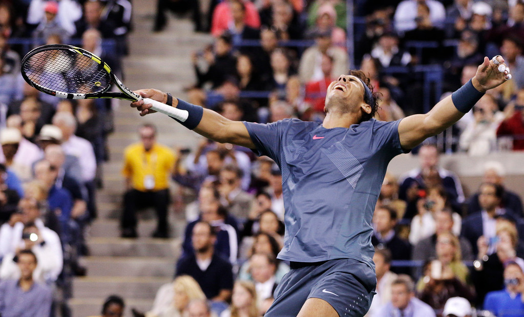 . Rafael Nadal, of Spain, reacts after defeating Novak Djokovic, of Serbia, during the men\'s singles final of the 2013 U.S. Open tennis tournament, Monday, Sept. 9, 2013, in New York. (AP Photo/Peter Morgan)