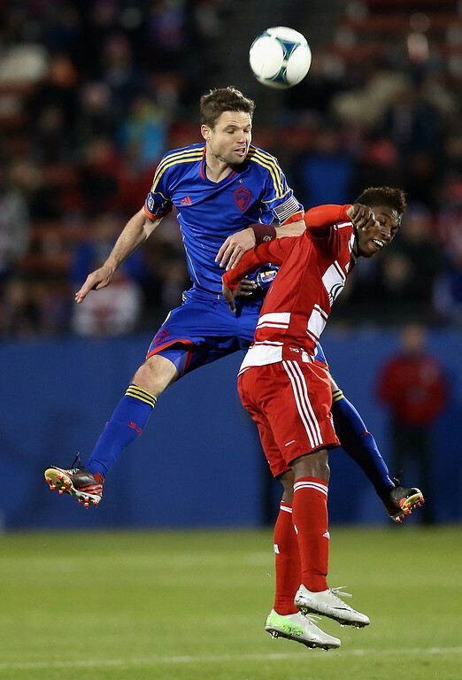 . FRISCO, TX - MARCH 02: (L-R) Drew Moor #3 of Colorado Rapids jumps for a header against Ricardo Villar #11 of FC Dallas at FC Dallas Stadium on March 2, 2013 in Frisco, Texas.  (Photo by Ronald Martinez/Getty Images)
