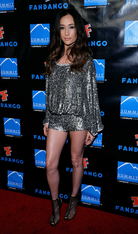 ". Actress Maggie Q arrives at Summit Entertainment\'s press event for the movies ""Ender\'s Game\"" and \""Divergent\"" at the Hard Rock Hotel San Diego on July 18, 2013 in San Diego, California.  (Photo by Ethan Miller/Getty Images)"