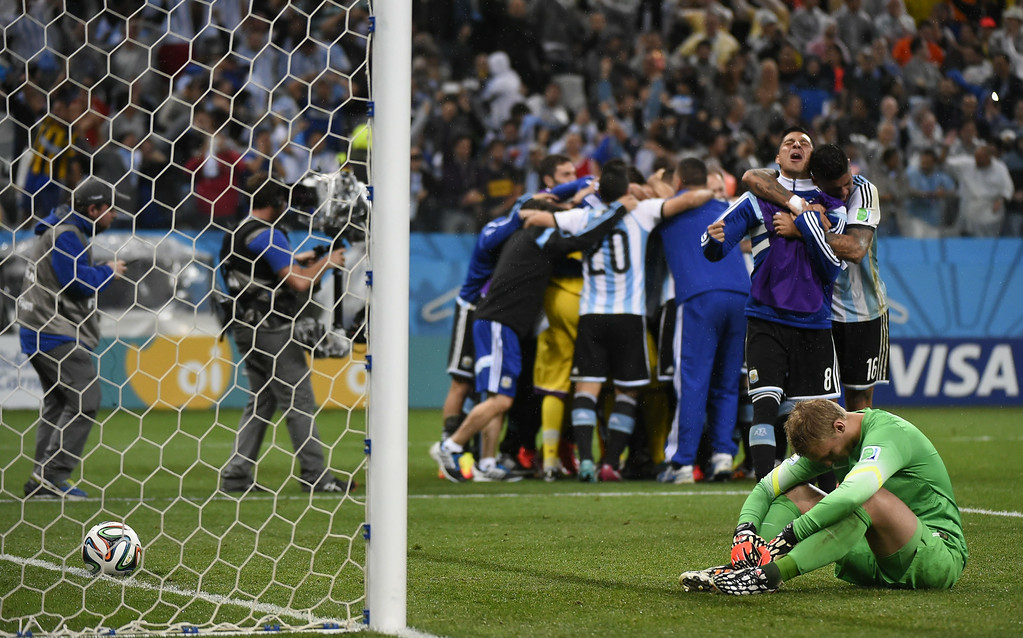 . Netherlands\' goalkeeper Jasper Cillessen reacts after losing their FIFA World Cup semi-final match against Argentina in a penalty shoot-out following extra time at The Corinthians Arena in Sao Paulo on July 9, 2014. FABRICE COFFRINI/AFP/Getty Images