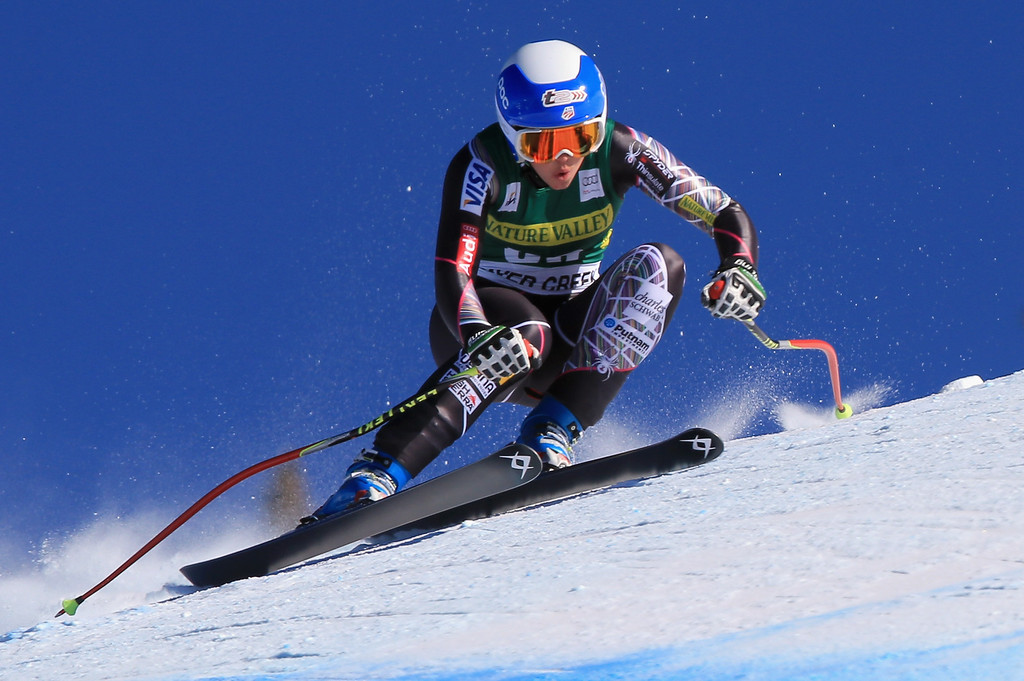 . Julia Ford of the United States races in the ladies\' downhill on Raptor at the Audi FIS Alpine World Cup at Beaver Creek on November 29, 2013 in Beaver Creek, Colorado.  (Photo by Doug Pensinger/Getty Images)