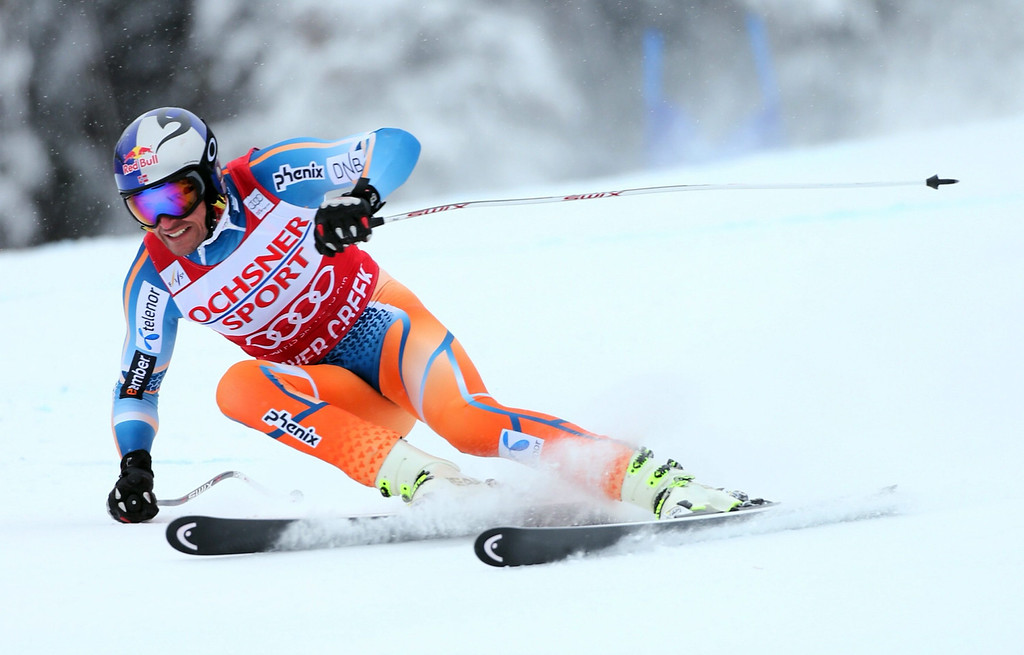 . Norway\'s Aksel Lund Svindal in action during the Men\'s Super G at the FIS Alpine Skiing World Cup in Beaver Creek, Colorado, USA, 07 December 2013.  EPA/George Frey
