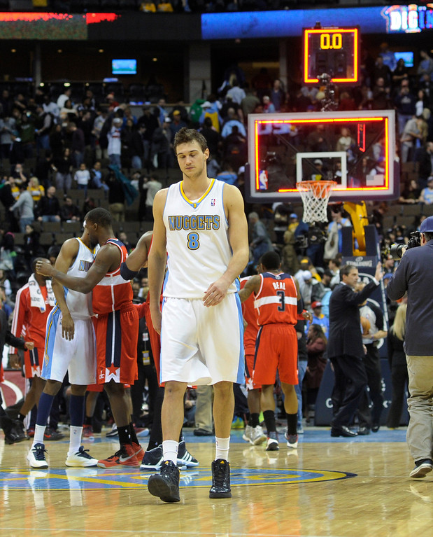 . DENVER, CO - JANUARY 18: Denver forward Danillo Gallinari walked off the court following the losing effort. The Washington Wizards defeated the Denver Nuggets 112-108 at the Pepsi Center Friday night, January 18, 2013. Karl Gehring/The Denver Post