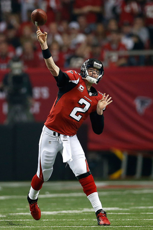 . Quarterback Matt Ryan #2 of the Atlanta Falcons throws the ball against the San Francisco 49ers in the first quarter in the NFC Championship game at the Georgia Dome on January 20, 2013 in Atlanta, Georgia.  (Photo by Chris Graythen/Getty Images)