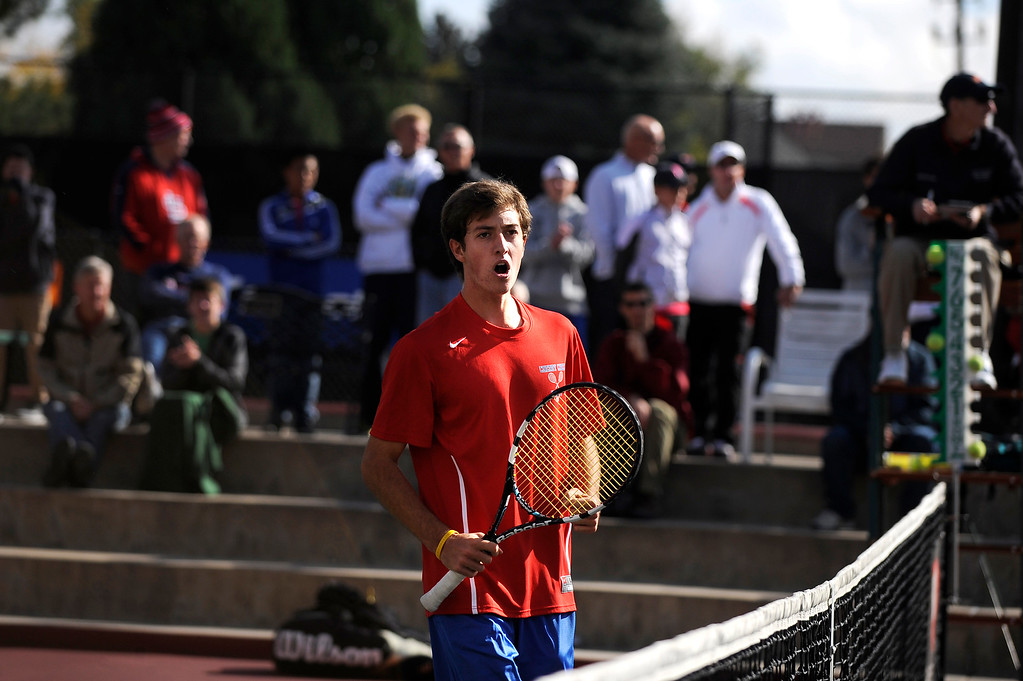 . DENVER, CO. - OCT 12:   Zach Fryer of Cherry Creek celebrates a play during his #1 singles match against Fairview\'s Ignatius Castelino. Fryer would go on to win the match and become the boys\' state tennis 5A singles champion.   (Photo By Erin Hull/The Denver Post)