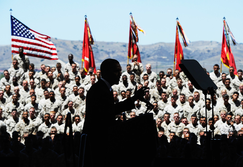 . CAMP PENDLETON, CA - AUGUST 07:  U.S. President Barack Obama delivers remarks during his visit at Camp Pendleton Marine Corps base with troops and their families to thank them for their service on August 7, 2013 in Camp Pendleton, California. Obama announced today that he canceled a planned meeting with Russian President Vladimir Putin in Moscow amid tensions over National Security Agency leaker Edward Snowden and other issues.  (Photo by Kevork Djansezian/Getty Images)