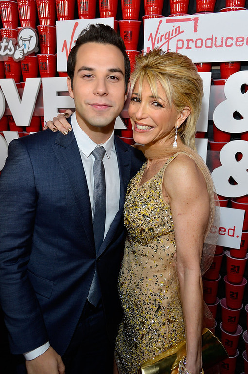 """. Actor Skylar Astin and Meryl Astin attend Relativity Media\'s \""""21 and Over\"""" premiere at Westwood Village Theatre on February 21, 2013 in Westwood, California.  (Photo by Frazer Harrison/Getty Images for Relativity Media)"""