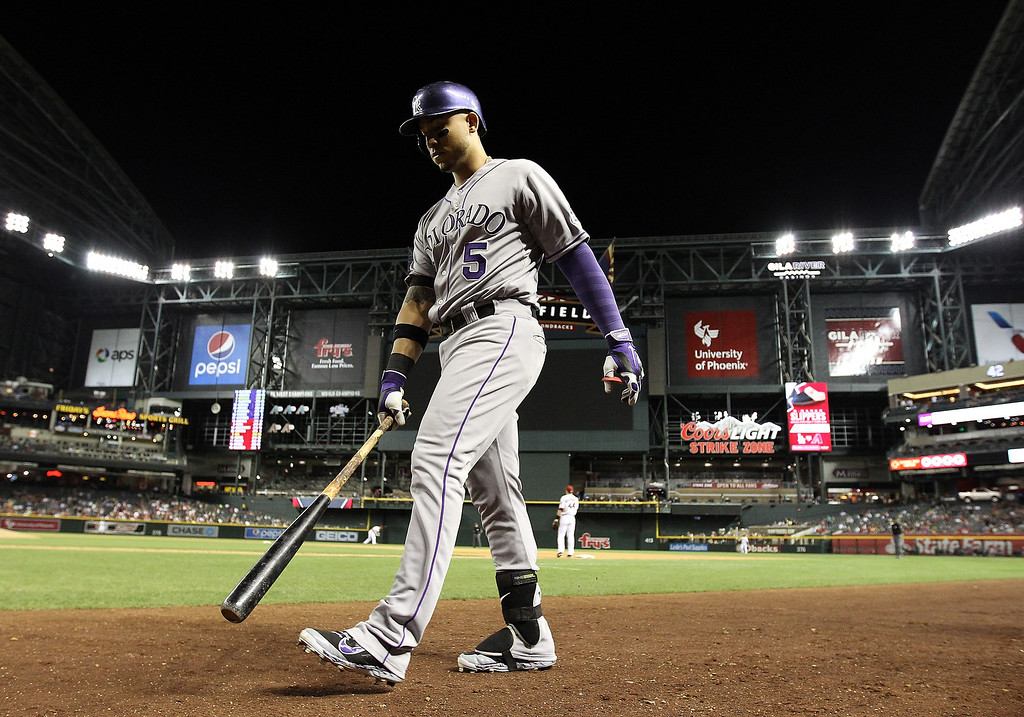 . Carlos Gonzalez #5 of the Colorado Rockies walks up to the plate to bat against the Arizona Diamondbacks during the MLB game at Chase Field on April 29, 2014 in Phoenix, Arizona.  (Photo by Christian Petersen/Getty Images)