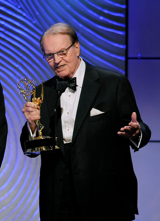". Charles Osgood accepts the award for outstanding morning program for ""CBS Sunday Morning\"" at the 40th Annual Daytime Emmy Awards on Sunday, June 16, 2013, in Beverly Hills, Calif. (Photo by Chris Pizzello/Invision/AP)"