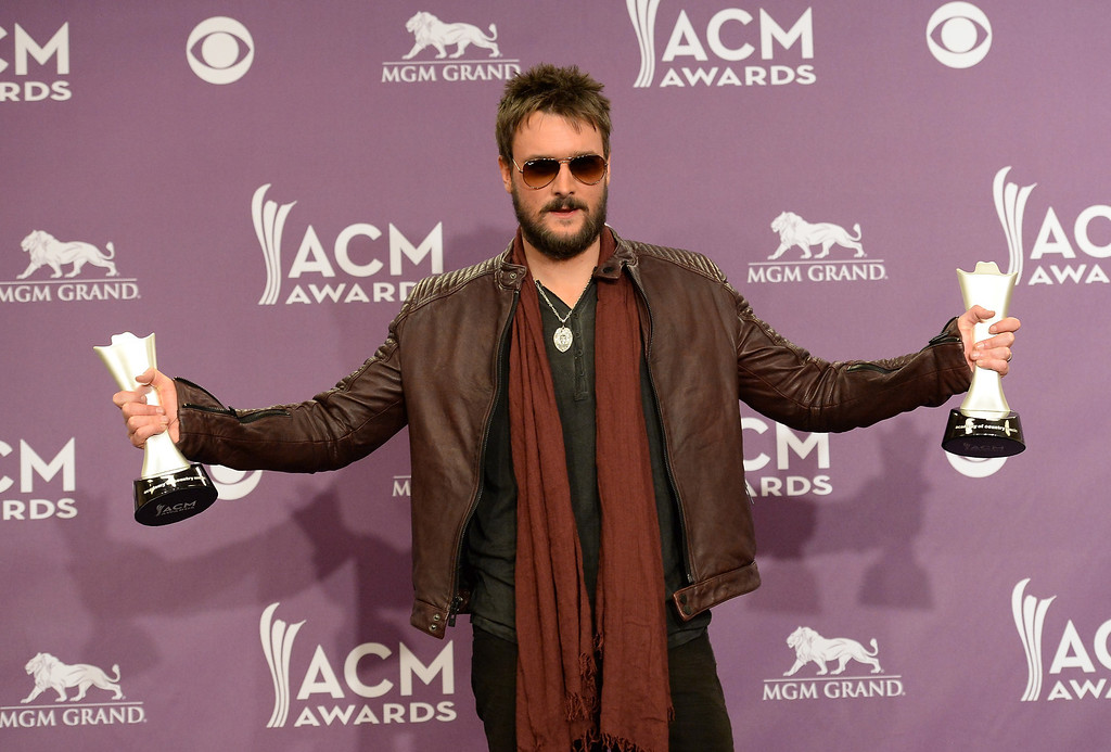 """. Musician Eric Church, winner of Album of the Year for \""""Chief,\"""" poses in the press room during the 48th Annual Academy of Country Music Awards at the MGM Grand Garden Arena on April 7, 2013 in Las Vegas, Nevada.  (Photo by Jason Merritt/Getty Images)"""