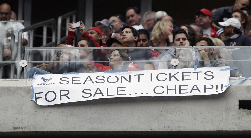 . Houston Texans fans showing their frustration with the season during a game against Jacksonville Jaguars at Reliant Stadium on November 24, 2013 in Houston, Texas.  (Photo by Bob Levey/Getty Images)