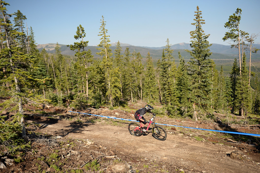 . WINTER PARK, CO. - July 26: Nicolas Quere is competing during the first stage of First international Enduro World Cup Championship ever in U.S. at Winter Park, Colorado. July 26, 2013. (Photo By Hyoung Chang/The Denver Post)