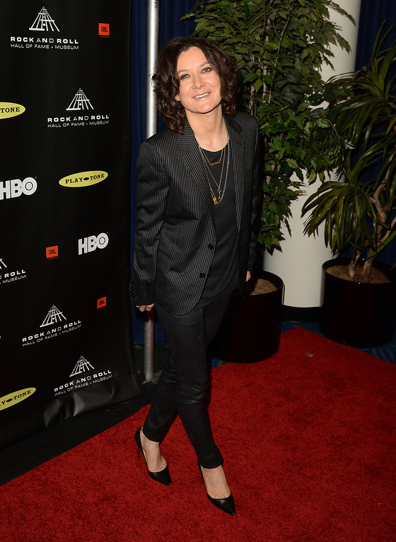 . Actress Sara Gilbert arrives at the 28th Annual Rock and Roll Hall of Fame Induction Ceremony at Nokia Theatre L.A. Live on April 18, 2013 in Los Angeles, California.  (Photo by Jason Merritt/Getty Images)