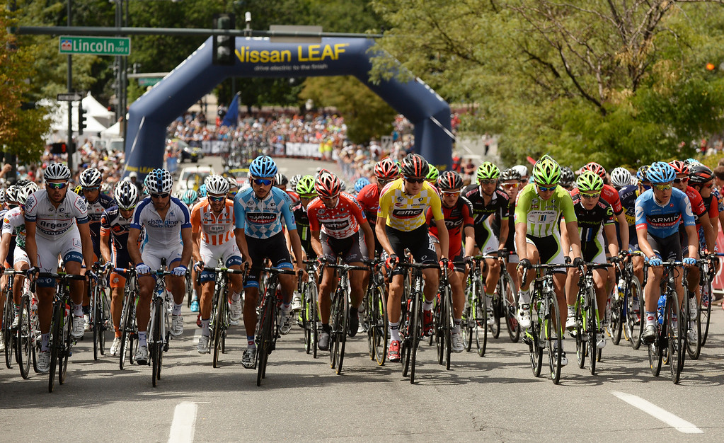 . Cyclists head to City Park during the 75-mile, 7th stage of the 2013 USA Pro Challenge race in Denver, August 25, 2013. (Photo by Hyoung Chang/The Denver Post)