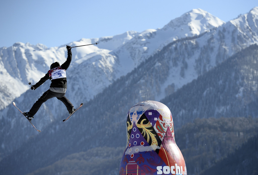 . Kazakhstan\'s Dmitriy Reiherd trains during Ski Slopestyle at the Extreme Park in Rosa Khutor on February 5, 2014 in Sochi, two days ahead of the Sochi 2014 Winter Olympics .  AFP PHOTO / FRANCK FIFE/AFP/Getty Images