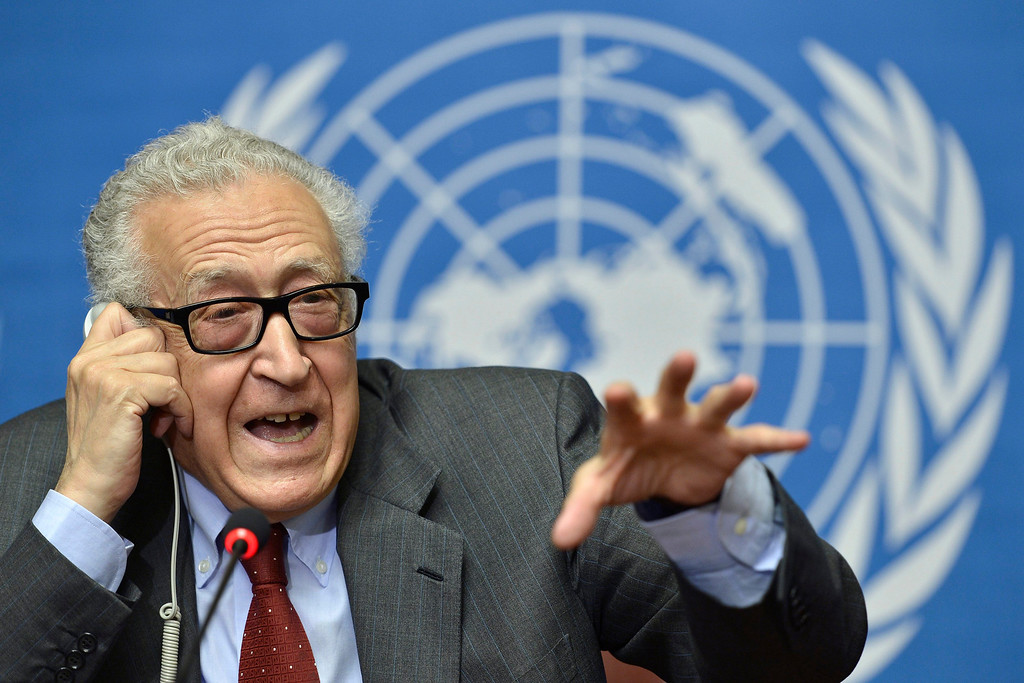 ". The UN Joint Special Representative for Syria Lakhdar Brahimi speaks on developments related to Syria during a press conference at the European headquarters of the United Nations in Geneva, Switzerland, Wednesday, Aug. 28, 2013. Evidence suggests that some kind of chemical ""substance\"" was used in Syria that may have killed more than 1,000 people, but any military strike in response must first gain U.N. Security Council approval, the U.N.\'s special envoy to Syria Brahimi said. (AP Photo/Keystone, Martial Trezzini)"