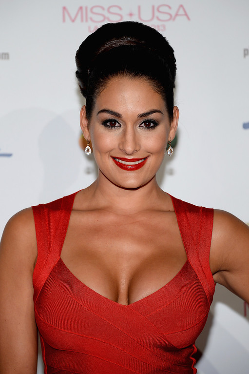 . Professional wrestler and pageant judge Nikki Bella arrives at the 2013 Miss USA pageant at Planet Hollywood Resort & Casino on June 16, 2013 in Las Vegas, Nevada.  (Photo by Ethan Miller/Getty Images)