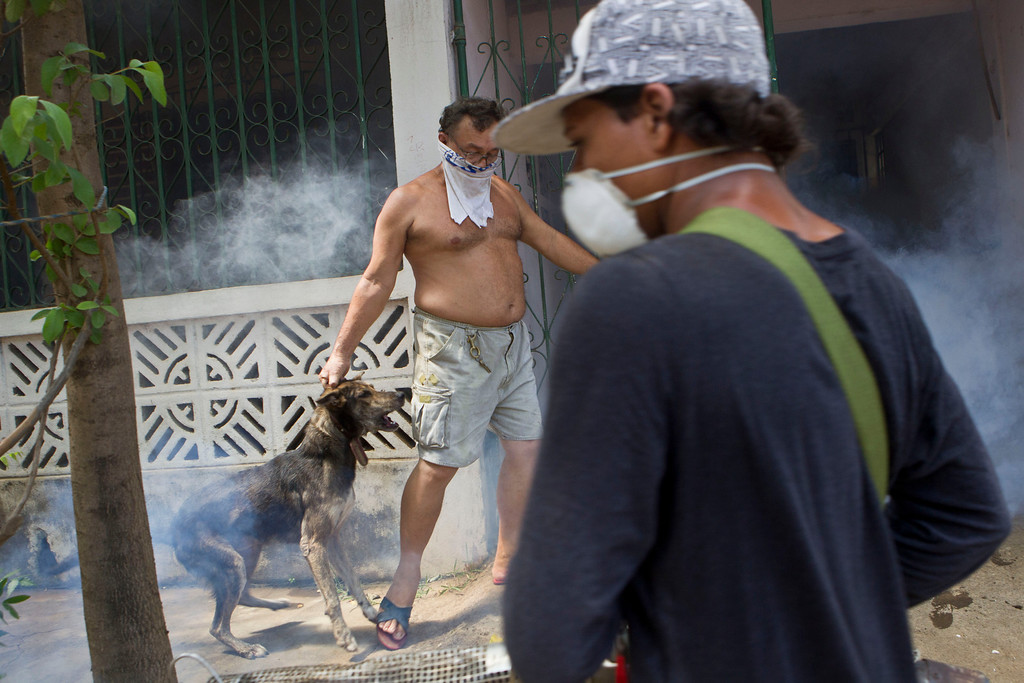 . A dog owner restrains his pet to keep the dog from attacking a worker from the health ministry fumigating the owner\'s home, in Managua, Nicaragua, Thursday, Oct. 31, 2013. According to the government, more than 5,000 cases of dengue have been reported this year and has claimed 14 lives. (AP Photo/Esteban Felix)