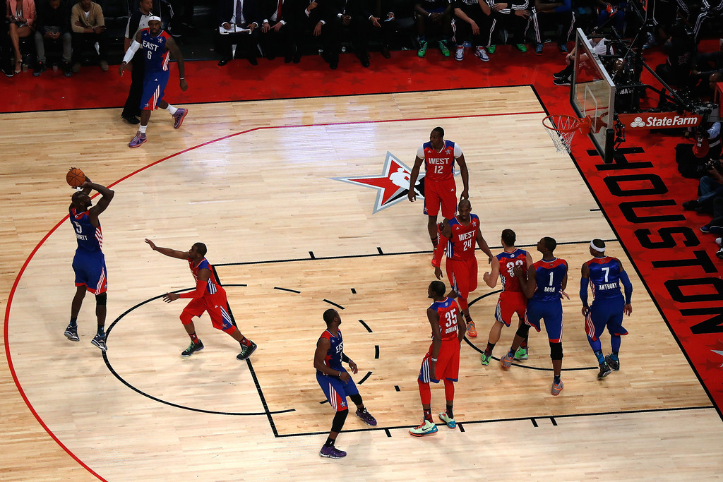 . HOUSTON, TX - FEBRUARY 17:  Kevin Garnett #5 of the Boston Celtics and the Eastern Conference shoots a jumper at the top of the key in the first quarter during the 2013 NBA All-Star game at the Toyota Center on February 17, 2013 in Houston, Texas.    (Photo by Scott Halleran/Getty Images)