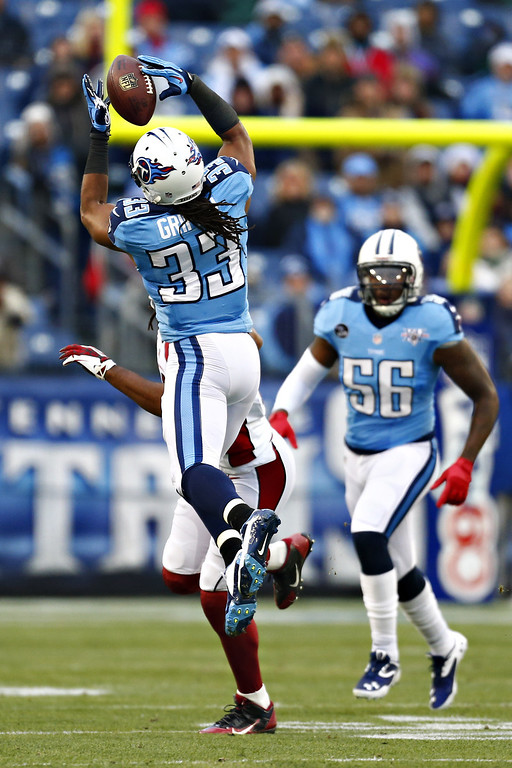 Description of . NASHVILLE, TN - DECEMBER 15:  Michael Griffin #33 of the Tennessee Titans almost intercepts a pass against the Arizona Cardinals at LP Field on December 15, 2013 in Nashville, Tennessee.  (Photo by Wesley Hitt/Getty Images)