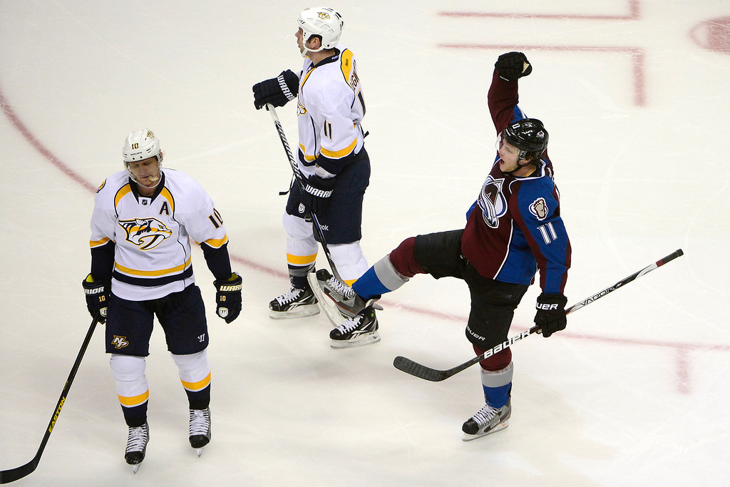. Jamie McGinn (11) of the Colorado Avalanche celebrates his goal against the Nashville Predators during the second period of action. The Colorado Avalanche take on the Nashville Predators at the Pepsi Center on February 18, 2013. (Photo By AAron Ontiveroz/The Denver Post)