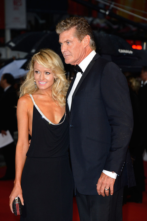 . Hayley Roberts and David Hasselhoff attend the Opening Ceremony and \'The Great Gatsby\' Premiere during the 66th Annual Cannes Film Festival at the Theatre Lumiere on May 15, 2013 in Cannes, France.  (Photo by Pascal Le Segretain/Getty Images)