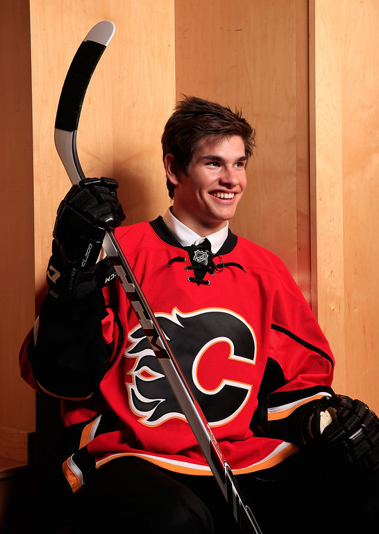 . Sean Monahan poses for a portrait after being selected number six overall in the first round by the Calgary Flames during the 2013 NHL Draft at the Prudential Center on June 30, 2013 in Newark, New Jersey.  (Photo by Jamie Squire/Getty Images)