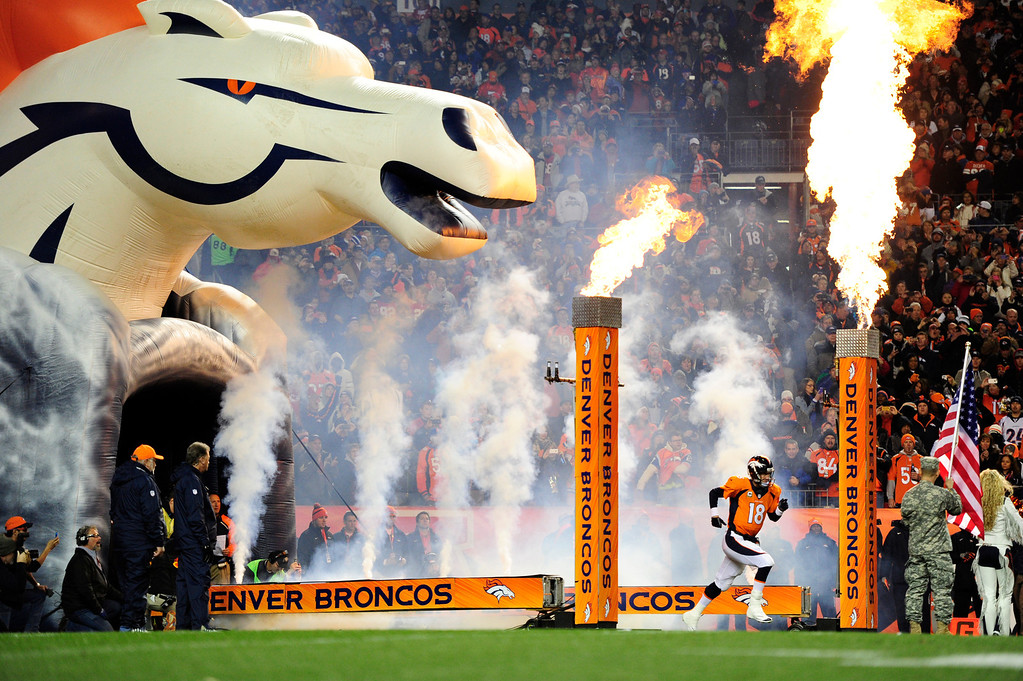 . DENVER, CO - NOVEMBER 17: Denver Broncos quarterback Peyton Manning (18) takes the field before the game. The Denver Broncos take on the Kansas City Chiefs at Sports Authority Field at Mile High in Denver on November 17, 2013. (Photo by AAron Ontiveroz/The Denver Post)