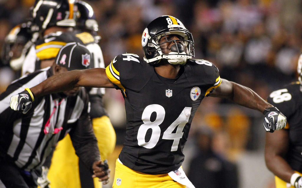 . Antonio Brown #84 of the Pittsburgh Steelers reacts after a first down against the Baltimore Ravens during the game on October 20, 2013 at Heinz Field in Pittsburgh, Pennsylvania.  (Photo by Justin K. Aller/Getty Images)