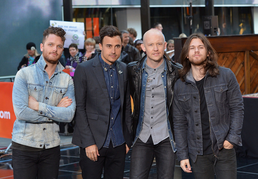""". (L-R) Ben Wysocki, Joe King, Isaac Slade and Dave Walsh of the Fray performs on NBC\'s \""""Today\"""" at the NBC\'s TODAY Show on October 22, 2013 in New York, New York.  (Photo by Slaven Vlasic/Getty Images)"""