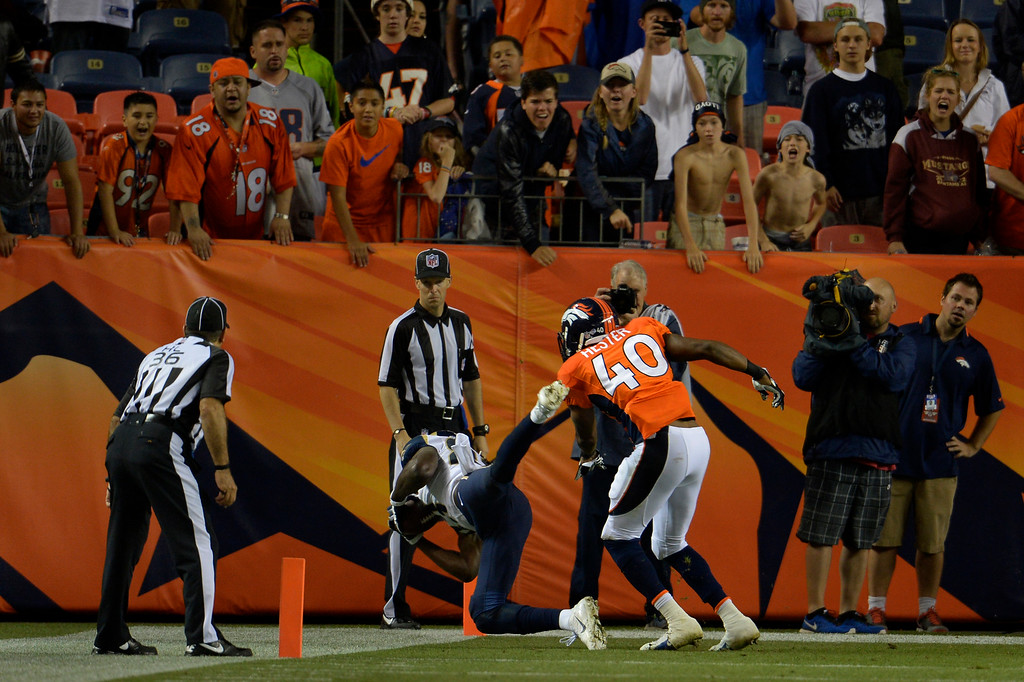 . DENVER, CO. - August 24: The St. Louis Rams lose to the Broncos as their attempt for 2 points fails at the end of the 4th quarter during the 3rd pre-season game of the season at Sports Authority Field at Mile High. August 24, 2013 Denver, Colorado. (Photo By Joe Amon/The Denver Post)