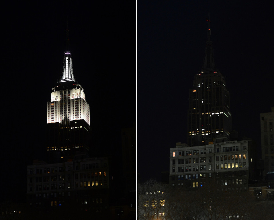 ". In this combo photo The Empire State Buidling stands dark (R) as its lights were turned off too mark ""Earth Hour\"" in New York, March 23, 2013. More than 150 countries across the world, switched off their lights for an hour at 20:30 local time. EMMANUEL DUNAND/AFP/Getty Images"
