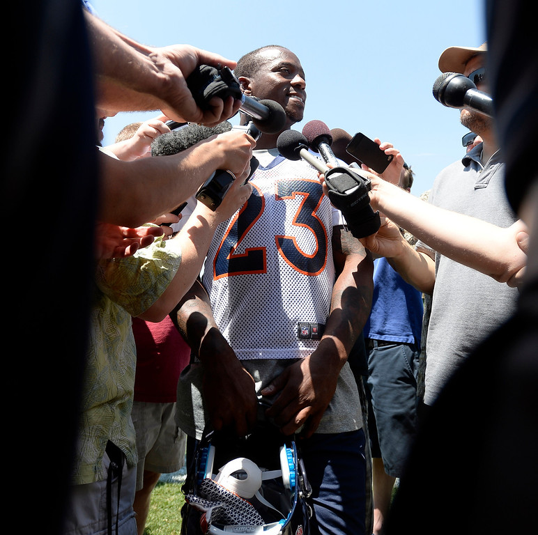. Willis McGahee (23) running back of the Denver Broncos talks with the media after the first day of mini camp June 11, 2013 at Dove Valley. (Photo By John Leyba/The Denver Post)