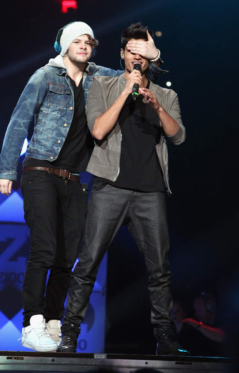 . Jay McGuiness and Siva Kaneswaran of The Wanted performs onstage during Z100\'s Jingle Ball 2012, presented by Aeropostale, at Madison Square Garden on December 7, 2012 in New York City.  (Photo by Kevin Kane/Getty Images for Jingle Ball 2012)