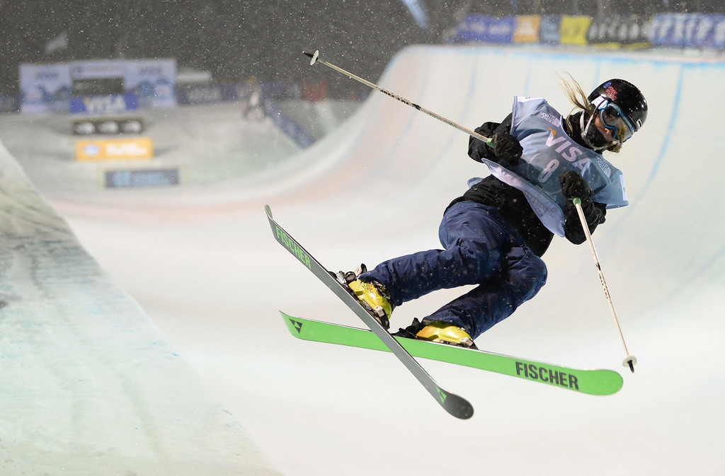 . COPPER MOUNTAIN, CO. DECEMBER 20: Annalisa Drew is in action during the ski halfpipe final U.S. Snowboarding Grand Prix. Copper Mountain, Colorado. December 20. 2013. (Photo by Hyoung Chang/The Denver Post)