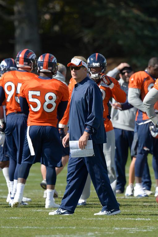 . Denver Broncos defensive coordinator Jack Del Rio  looks on during practice October 16, 2013 at Dove Valley. (Photo by John Leyba/The Denver Post)