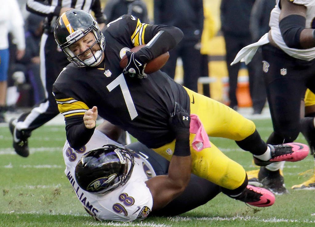 . Pittsburgh Steelers quarterback Ben Roethlisberger (7) is sacked by Baltimore Ravens defensive tackle Brandon Williams (98) in the second quarter of an NFL football game in Pittsburgh on Sunday, Oct 20, 2013. (AP Photo/Gene J. Puskar)